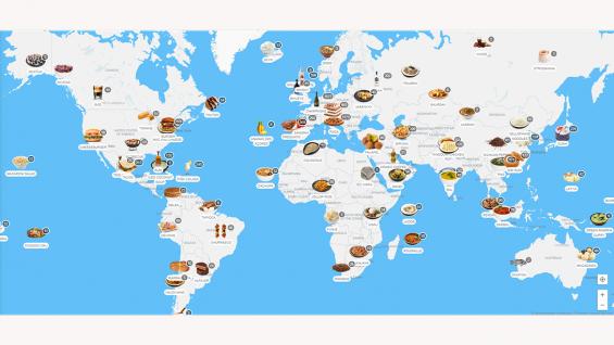 Existe un mapa culinario con todas las comidas típicas del mundo. Cual identifica a Córdoba?