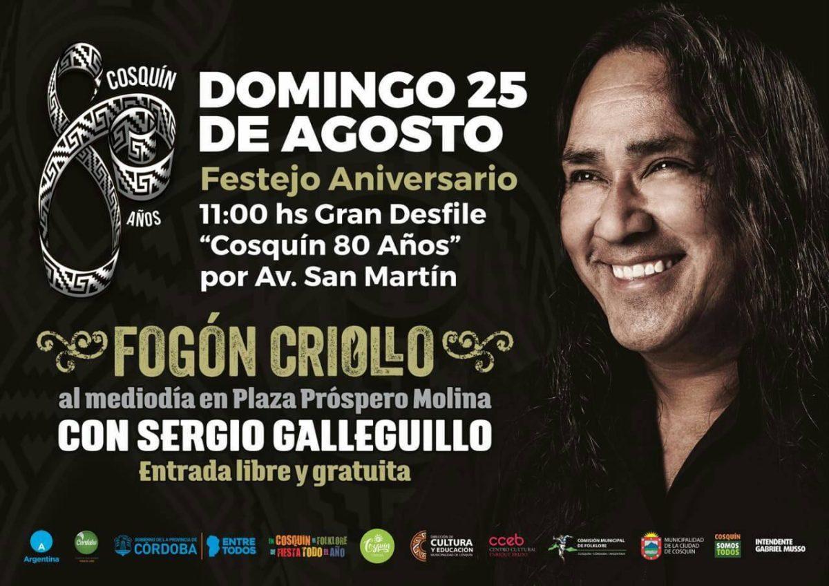 Cosquín festeja sus 80 años con fogón criollo y show gratuito de Sergio Galleguillo