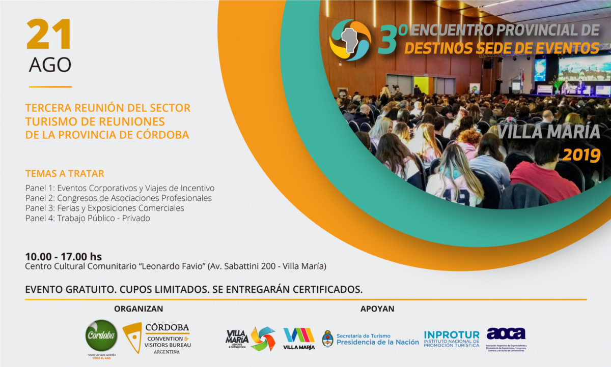 Villa María: Hoy tendrá lugar el Encuentro Provincial de Destinos de Eventos